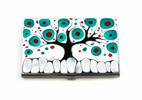 Tree of Life Business Card Case Hand Painted Enamel in Teal Red Black and White Glossy Finish Custom Colors and Personalized Option