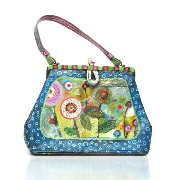 Upcycled Handbag Painted Vintage Vinyl Bag Whimsical Style One of a Kind, Blue Purple Green Multi-Colored