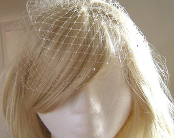 Petite AB Swarovski Rhinestone Bridal Birdcage Veil French Russian Netting Wedding Available in Several Colors