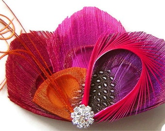 PURPLE PUCKER Peacock Feather Hair Fascinator Clip Magenta, Burgundy, Orange, and Hot Pink Perfect for a  Bride or Bridesmaid