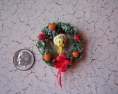 Vintage Dollhouse Miniature Tweety Bird Christmas Wreath