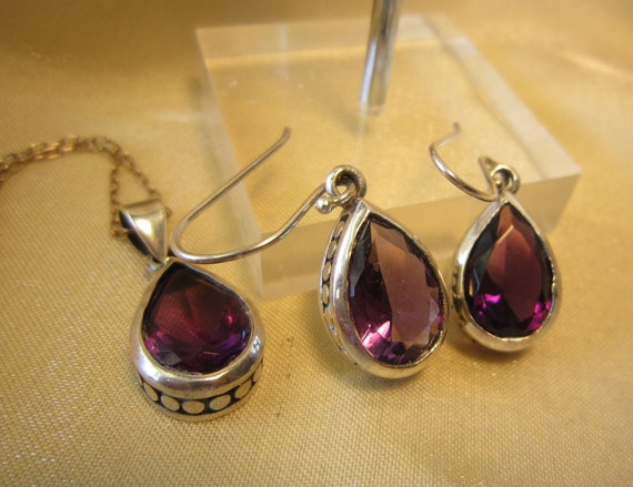 Vintage Sterling Silver Amethyst Necklace and Earrings Set
