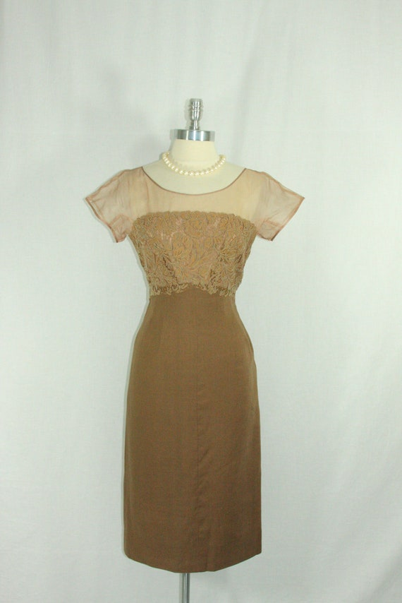 Vintage 1950s  Dress - Mocha Illusion Lace Bust Linen Wiggle Frock