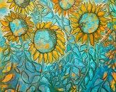 We Are The Light Bearers, 20 x 20 giclee print, sunflowers