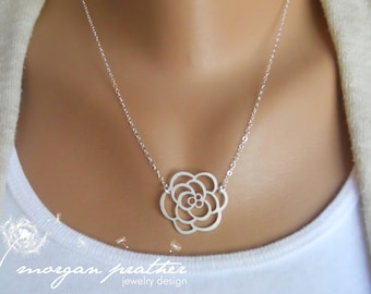 SALE - Rose Necklace - silver dainty rose pendant suspended - sterling silver chain - minimalist - Simple - Dainty - The Lovely Raindrop