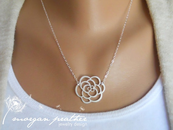 Rose Necklace - silver dainty rose pendant suspended - sterling silver chain - morganprather