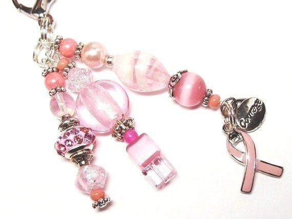 Pink Breast Cancer Awareness Ribbon with Various Shades of Pink Beads -  (KC 4040)