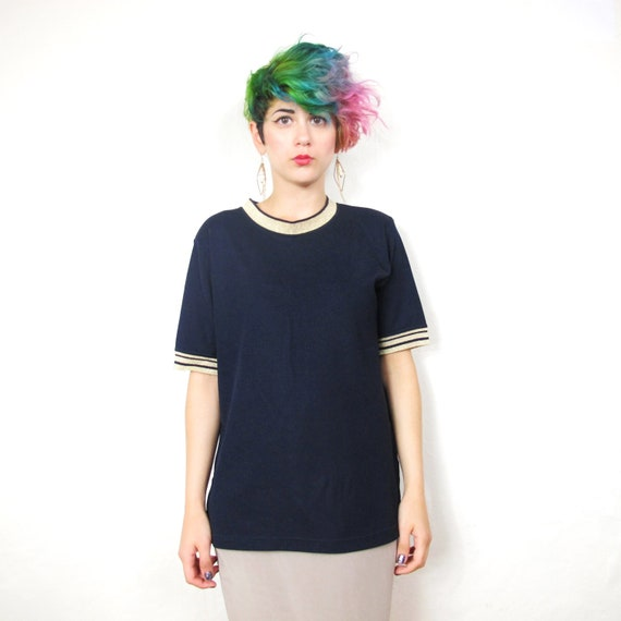 Nautical Navy and Gold Striped Tshirt (M) Reserved