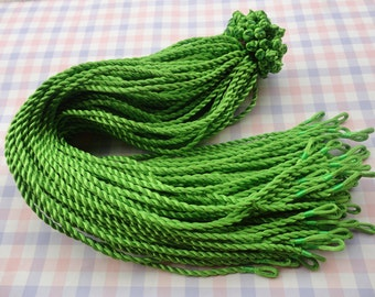 10pcs 18-20 inch 3mm medium green twist silk necklace cord with loop and knot