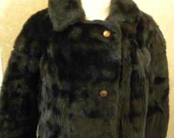Vintage 1960s Chocolate Brown Faux Fur Coat -- Winter Fashion Dress Coat-42 Bust-46 Waist