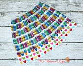 Back to School Crayon Skirt with Rainbow heart trim...by Its a Bows Life