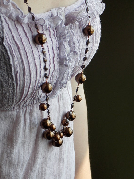 chocolate Brown pearl necklace, long chain