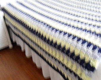 "New(Ready to Ship) Crocheted Afghan (Queen )  Blanket - Bedspread - Throw ''TIER DROP""  in  Navy-Yellow-Gray"