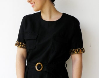 Vintage 1960s Black and Leopard Wool Dress / Size L