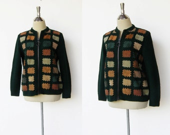 Vintage 1970s Forest Green Wool Patchwork Jacket / Size M L