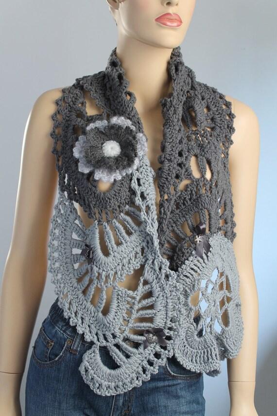 Grey Wool Crochet Scarf Shawl with Pin - Flower