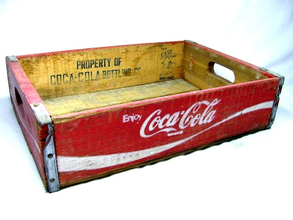 Rustic COCA - COLA WOODEN Crate No. 5  -  Red with White Letters