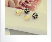 16k Gold Plated Flower Earrings, 16k Gold Plated Black Stone Ball Post Earring