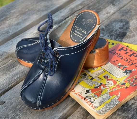 SALE Vintage Swedish Navy Blue Wooden Clogs by Scania 36