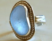 English Sea Glass Clear Blue Ring
