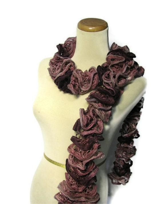 Hand Knit Ruffled Scarf  - Burgundy Mauve