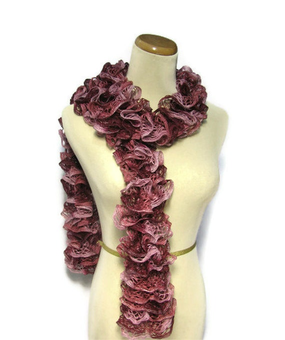 Sale Hand Knit Ruffled Scarf  Red Mauve Garnet Pink Hand Knitted Scarves For Sale