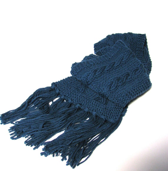 Real Teal Cable Hand Knit Scarf - One of a Kind