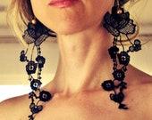 Last ones Lace earrings/ Black lace earrings/ Floral earrings/ Long earrings/  under 25/ rusteam epl redteam / Lace fashion