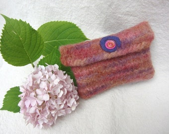Pink Purple Rainbow Felted Purse or Pouch