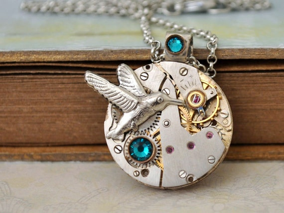 ENCHANTED FOREST steampunk watch movement necklace with humming bird and Swarovski rhinestones