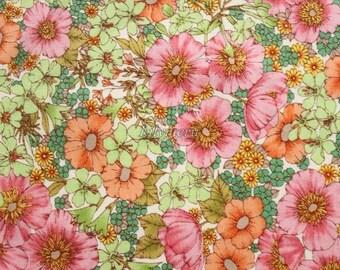 SALE - Liberty tana lawn printed in Japan -  Gloria flowers  - Pink khaki mix