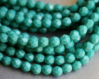 6mm Persian Turquoise Fire Polished Czech Glass Beads