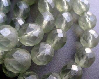 Premium Czech Beads - 12mm Matte Green - Faceted Rounds