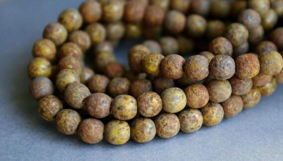 6mm Olivine Stone Picasso Czech Glass Beads FULL STRAND