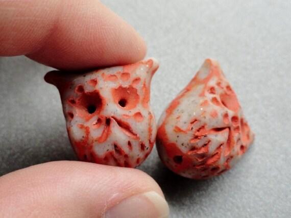 Polymer Clay Owl Beads - Handmade