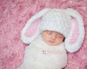 Baby boy hat, baby girl hat, bunny, easter bunny, photo prop, crochet white bunny, baby shower gift, coming home outfit, first easter bunny