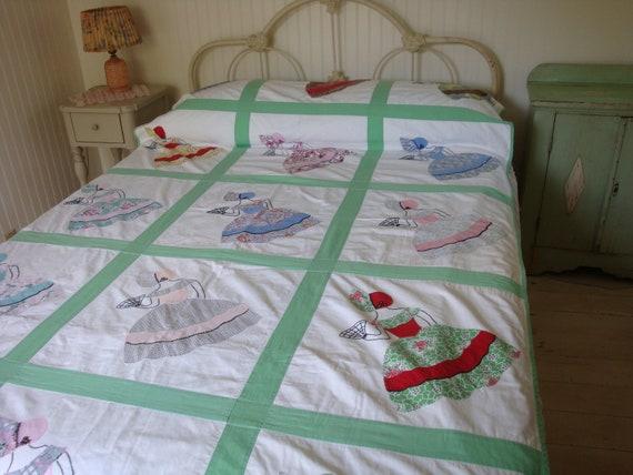 Vintage Southern Belle Applique Quilt Bedspread 1940s One Of