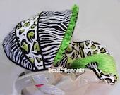 Custom Boutique Cheetah Zebra Lime Green Infant Car Seat Cover 5 piece set