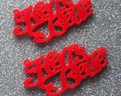 2 x Laser cut acrylic Hells Belle pendants