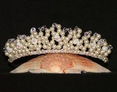 Swarovski Crystal Tiara With Ceramic Roses In Cream Pearl And Clear Crystal
