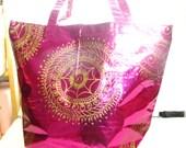 Metallic Tote, Henna Mehndi Pattern, Vegan-Friendly, MEHANDI MAHAL, XL Capacity