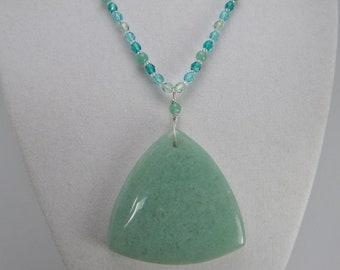 FREE SPIRIT Green Aventurine Necklace - Aventurine Pendant - Gemstone Jewelry - Beaded Necklace - Gemstone Necklace - Sterling Silver Clasp