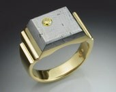 18k gold mans ring with yellow Diamond and Gibeon Meteorite