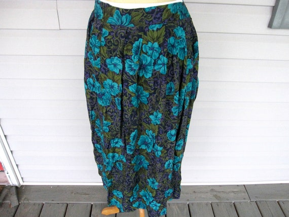 ON SALE - Vintage Purple Teal Floral Skirt