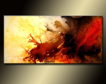 Red And Black Abstract painting, Large  Contemporary Colorful Canvas Art by Henry Parsinia 48x24