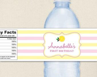 Pink Lemonade Party - 100% waterproof personalized water bottle labels