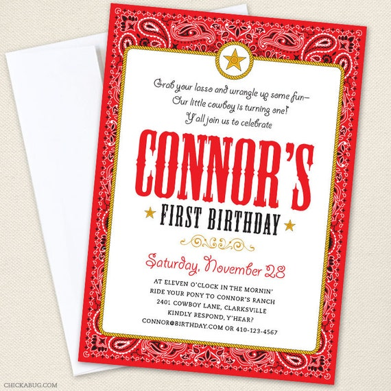 Country Western Party Invitations Professionally printed or DIY