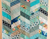 For Lacey - Blue Herringbone Baby Quilt