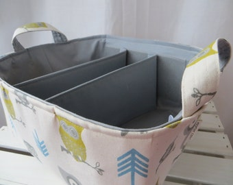 Diaper Caddy basket bin with adjustable dividers 12 x 10 x 7