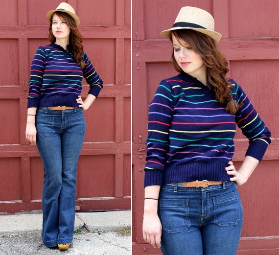 Vintage Primary Striped Pull Over Sweater